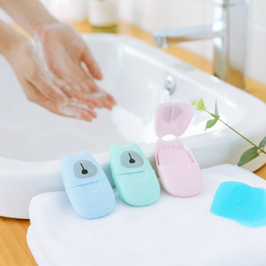 50sheets pcs Disposable Anti dust Mini Travel Soap Paper Washing Hand Bath Cleaning Portable Boxed Foaming Soap Paper Scented Sheets EEA1532