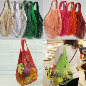 Réutilisable chaîne achats de fruits légumes Sac d'épicerie Sac fourre-tout en coton tissé Mesh net Sac à bandoulière Totes main Accueil Sac de rangement