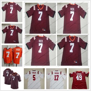 Virginia Tech Hokies # 7 Michael Vick Stitched Name Number Logo Red Football Jersey أعلى جودة وأفضل سعر S-3XL