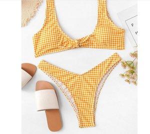 Impreso a cuadros Bikini de baño atractivo de las mujeres Amarillo Azul Biquini bañistas vendaje traje de baño de baño bikini