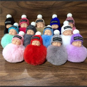 Cute Sleeping Baby Doll Keychain Pompom Rabbit Fur Ball Carabiner Key Chain Keyring Women Kids Key Holder Bag Pendant key ring ZZA1620