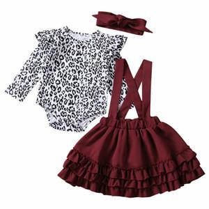 Natale bambino del bambino vestiti della ragazza Leopard pagliaccetto + Red Ruffle Suspender Skirt + Headband Abiti Set