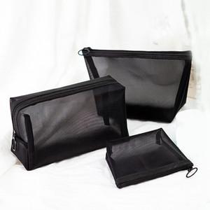 Preto Transparente Saco Cosmético Portátil Maquiagem Viagem Caso Zipper Make Up Organizador Bolsa De Armazenamento De Higiene Pessoal Saco de Lavagem RRA1881