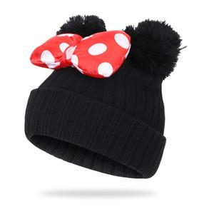 Big Bow bonito dos desenhos animados Dot Crianças Cap Hat Crianças Knit Cotton Beanie Outono Inverno Quente dobro das meninas Pompom Chapéus