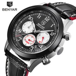 BENYAR бренд Спорт водонепроницаемый хронограф мужские часы топ бренд класса люкс мужской кожаный кварцевые военные наручные часы мужские часы saat