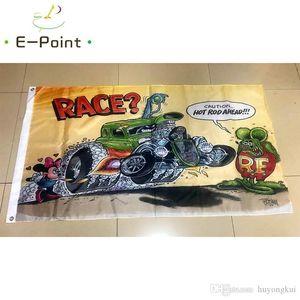 Rat Fink Rennen Flagge 3 * 5 Fuß (90cm * 150cm) Polyester Fahne Banner Dekoration nach Hause fliegen Garten Flagge Festliche Geschenke