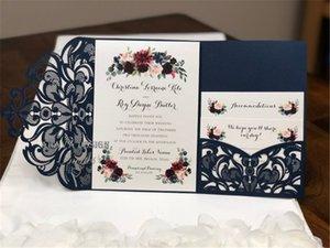 Superbe marine dentelle Pli Laser Cut Invitations de mariage de poche invitation de mariage Die Cut Laser Cut Shimmer Veste carte RSVP