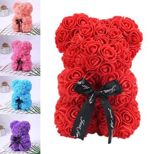 Romantice Rose медведь с коробкой для день свадьбы подарков Рождество День рождения Годовщина настоящее украшение Валентина