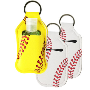 Neoprene Cover Baseball Softball Keychains Chaps Holker For Hand Sanitier Bottle Gel Holder Sleek Keys Ring pendent LXL1324A