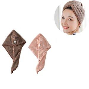 2PCS dei capelli della ragazza di secchezza del cappello Quick-asciugamano asciutto capelli cappello della protezione del bagno del microfiber tovagliolo di bagno asciutto Cap secco marrone + rosa