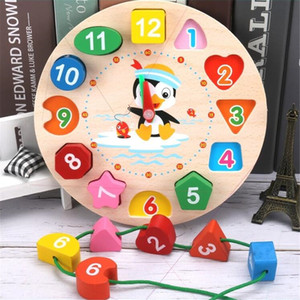 Montessori Cartoon Animal Educational Wooden Beaded Geometry Digital Clock Puzzles Gadgets Matching Toy For Children