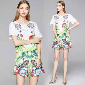 High-end Girl Set Tops+pant Short Sleeve High Waist Printed Summer Two Piece Set Fashion Casual Boutique Lady Suits
