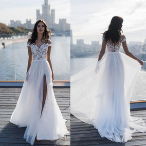 Beach Off Shoulder Chiffon A Line Vestidos de novia 2019 Nuevo muslo Slits Vestido de novia Apliques de encaje vestido de novia BC1924