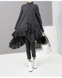 Yeni Kadın Sonbahar Katı Siyah Uzun Kollu Mini Gömlek Elbise Ruffled Hem 2019 Bayanlar Moda Tatil Zarif Elbise Robe Festal