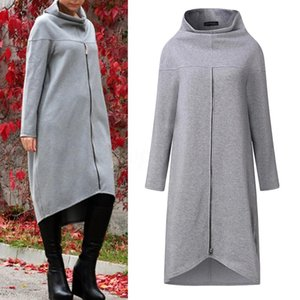Women Long Shirt Dress Evening Party High Low Asym Split Sweatshirt Dress Winter Warm Thickening Plus Size Zipper Pullover