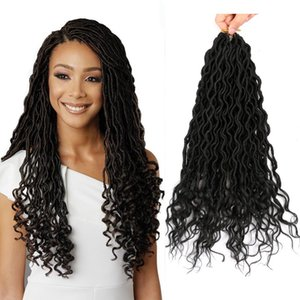 "Mtmei Hair Goddess Faux Locs крючком волосы с вьющимися концами 18"" 24 корни дреды наращивание волос синтетические крючком косы наращивание волос"