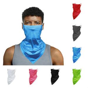 Sıcak düz renk erkek ve bayan buz ipek kulak sihirli eşarp maske T50013 asılı nefes binme üçgen eşarp örgü satan