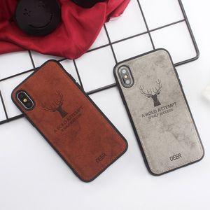 8 Plus X XS Max XR Ultra ince Yumuşak TPU Kumaş Kapak Deri kılıflar iphone için Lüks Retro Geyik Bezi Doku Telefon Kılıfı