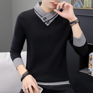 2019 UYUK Automne / hiver Nouveau Fake deux Corée Version en vrac ajustée Mode Tempérament Knit Sweater Hombre coton