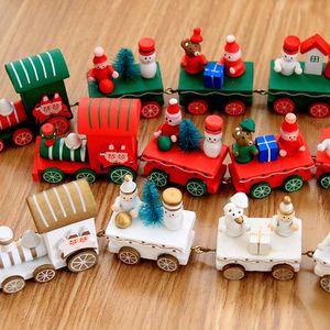Trem do Natal madeira pintada Decoração de Natal para casa com Ornamento do presente de Santa / urso Xmas Kid Toys Ano Novo presente EEA846