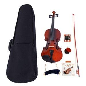 1 4 Solid Wood Acoustic Violin Case Bow Rosin Strings Tuner Shoulder Rest Natural Color