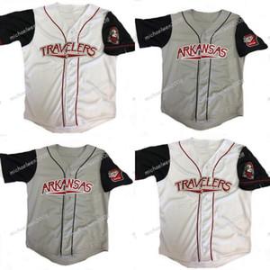 Hommes Arkansas Voyageurs Grey White Custom Coind Bekball Shirts Baseball Jerseys de haute qualité