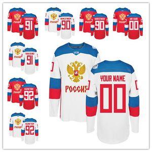 Team Russia 2016 Copa do Mundo de Hockey Jerseys 8 Alex Ovechkin 72 Artemi Panarin 91 Vladimir Tarasenko 71 Evgeni Malkin 13 Pavel Datsyuk baratos