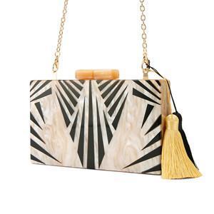 Nude cores preto listrado Acrílico Fecho Mulheres Messenger Bag Com Tassel Viagens Shopping moeny carteira clipe de Acrílico Box Clutch Bags