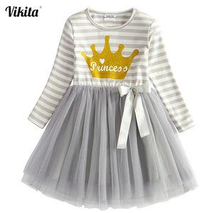 Elegante vestido Tutu para meninas Crianças Birthday Party VIKITA meninas miúdos Princess Dress Vestido Infantil Natal roupas para crianças