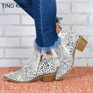 Zapatos casuales de la moda de Nueva TINO KINO mujer leopardo del tobillo botas otoño Mujeres PU Zip tacones altos Mujer mujer de la plataforma de
