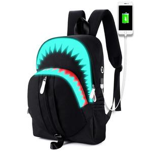 Gece yansıması Okul çantası öğrenci sırt çantası USB USB portu ile erkekler için büyük kapasiteli toptan