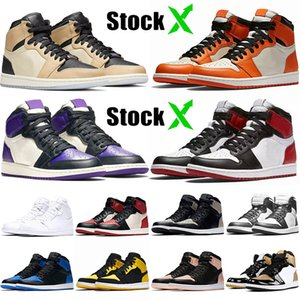 Nike Air Jordan Retro 1 1s Stock X New Best Basketball Jumpman Shoes 1 1s Premium Shattered Fashion Brand Court Purple Black Toe Top Trainers Sport Sneakers 36-46