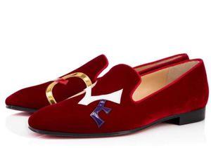 [Orijinal Kutusu] Kırmızı Alt Dandylove Loafers Süet Daire Erkekler Oxford Mükemmel Kalite Moccasin Parti Elbise Düğün Siyah, Kırmızı Walking