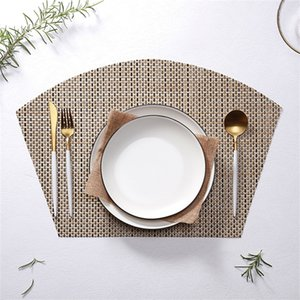 En forma de abanico Estera de la tabla Aislamiento de calor Color puro Comida Esteras Restaurante occidental antideslizante Almohadillas impermeables Novela 4 47xj L1