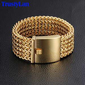 Trustylan 30mm Wide 22cm Length Men's Bracelet Never Fade Gold Color Thick Stainless Steel Bracelet Men Bangles Jewelry Armband Y19051002
