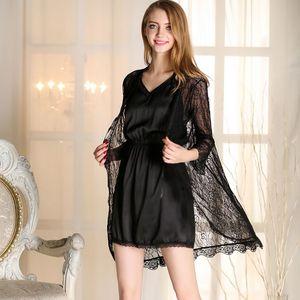 Silk-like V-neck Nightgown Set Backless Dress and Lace Robe Sexy Women's Summer Sleepwear Nightdress Home Wear