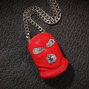 Mens para fora congelado Designer Hip Hop Cadeia Pingentes Luxury Jewelry Men Declaração Colar Big Moda pingente encantos Hiphop Red Máscara de Horror capa