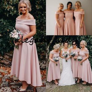 Erröten rosa High Low Brautjungfernkleider 2020 weg von der Schulter elegante Knöchel-Längen-Strand-böhmisches Mädchen der Ehre Wedding Guest Kleid