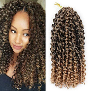 "Pack of 3 Ombre Color Marlybob Crochet Braiding Hair Afro Kinky Curly Jerry Curl Braids Kanekalon Synthetic Hair Extensions (10"")"