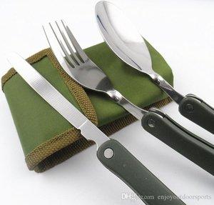 3 قطع / مجموعة المحمولة في الهواء الطلق فنون المائدة صحون المائدة مستلزمات التخييم الطي سكين شوكة ملعقة اوان للنزهة تنزه سفر أدوات المائدة