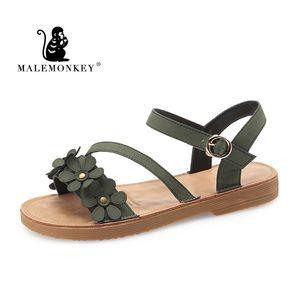 MALEMONKEY 023038 sandalias Retro Mujer 2020New verano moda Mujer elegante plana Zapatos Mujer señoras Casual Mujer Sandalias Zapatos