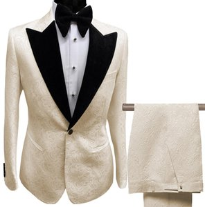 Mens Suits Collar 2 Pieces White Lilac Printed Suit Groom Jacket Tuxedos For Wedding Dress Evening(Blazer+Pants)