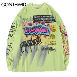 GONTHWID Creative drôle Graffiti Imprimer Pull Sweat-shirts Hommes Hipster Punk Rock Hip Hop Streetwear Sweatshirts Tops LY191209