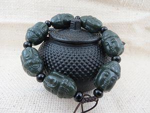 натуральный резной Guanyin первый жадеит браслет браслет символ Yu Goood LUCK
