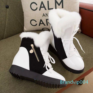 Snow boots 2019 new color matching round head women plus velvet cotton boots female martin casual wild non-slip women's booties