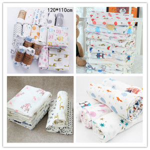 Baby Infant Muslin Blanket Toddler Baby Swaddle Wrap Stroller Cover Boy Girl Animal Floral Letters Print Crawling Beach Towels New LY224