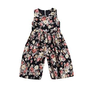 2019 Yürüyor Çocuk Bebek Kız Yaz Kolsuz Pamuklu Giysiler Siyah Çiçek Romper Harem Giysileri Popüler Rahat Kıyafetler