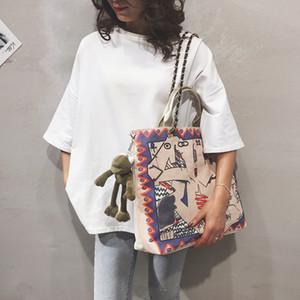 2020 Новая мода Коммуникатор Женская сумка хозяйственная сумка Art Canvas ЦЕЛЬНЫХ женщин Граффити вскользь Totes дамы плеча
