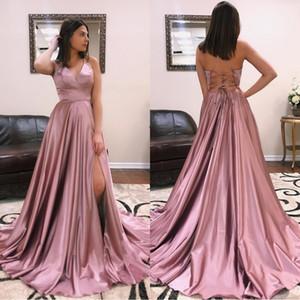 Lace Up Backless Dusty Rose A Line Vestidos de baile 2019 Halter Split Side High Sexy Vestidos de dama de honor baratos Vestido de noche formal