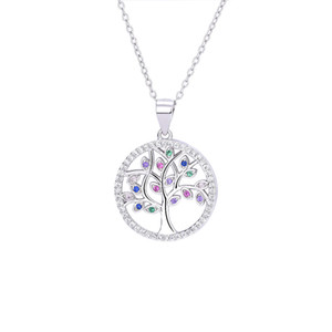 Beautiful 925 Sterling Silver Jewelry Mix Color CZ Stones Life Tree Pendant Necklace Womens Jewelry For Gift   Party   Enggagement